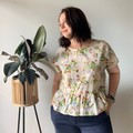 Vintage fabric floral ruffle hem  top with short sleeves, one of a kind