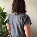 Denim Smock Dress with pockets, blue soft denim, handmade, flared skirt, v neck,