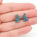 Little Bunny studs - Blue & holographic silver