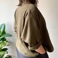 Khaki olive green soft organic double cloth kimono style jacket.