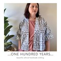 Vintage 80s geometric fabric kimono style jacket, grey and white tribal print