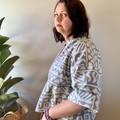 Vintage 80s geometric fabric kimono style jacket, grey and white tribal print