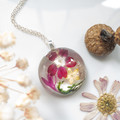 Round Pink Flower and Shell Necklace