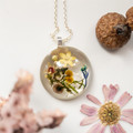 Round Wattle, Bottlebrush seed and Cornflower Necklace