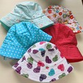 Baby bucket sun hat size S - 48cm - 12 months forest, stars, hearts, owls, spots