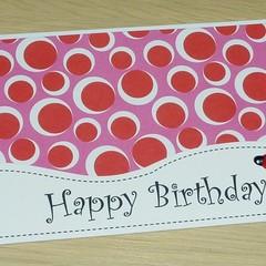 Girls Happy Birthday card - ladybirds