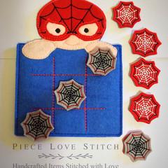 Spider superhero tic tac toe, Os Xs, flat Felt game, quiet book insert