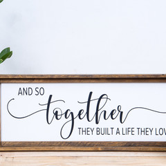 Rustic Wooden Farmhouse Sign - Together