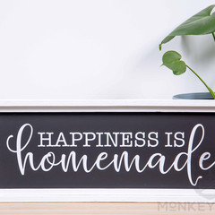 Rustic Wooden Farmhouse Sign - Happiness Is Homemade