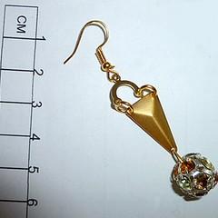 Gold, rhinestone filigree earrings