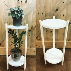 2 Tier Wooden Plant Stand, round plant stand, multi level