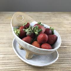 Handmade White & Caramel Ceramic Berry Bowl - Colander - Serving Bowl - Gift