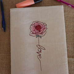 A4 Reusable Notebook Cover and Book-  Rose Love