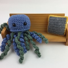 Crochet Jellyfish Softie | Toy | Wool Bamboo | Gift Idea | Hand Crocheted | Blue