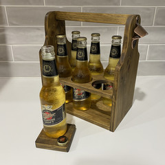Wooden Beer Caddy, Drink Holder with Bottle opener - perfect gift