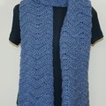 Beautiful long scarf / wrap with a wave design, in blue with a silver thread