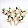 Silk Rose Buttonhole with Pale Pink Native Flowers -Wedding Flowers for Men