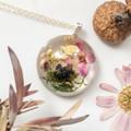 Round Purple  bloom & Pixie Cups Mushroom Necklace