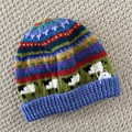 Blue  sheep Beanie - to fit approx size 4-8 years -hand knitted
