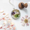 Round Purple Flower Necklace