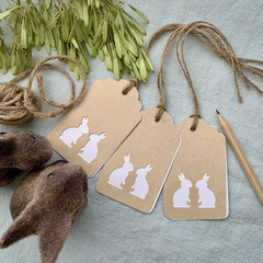 Set of 3 Bunny Gift Tags Two Cute Bunnies Kraft Paper