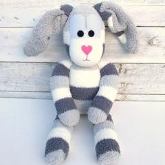 'Barney' the Sock Bunny - greys & cream - EASTER - *READY TO POST*