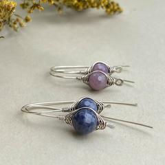 Silver Herringbone Gemstone Earrings