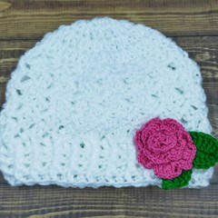 Baby beanie with rose 0-3 months