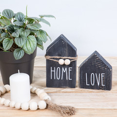 Rustic Mini Wood House, Shelf Sitter, Tiered Shelf Decor With Quotes - Small