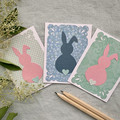 30% OFF Bunny Card Set of 3 Pink Blue & Green Paper Easter Birthday Baby Shower