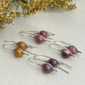 Silver Herringbone Mookaite Earrings