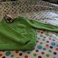 Green cable knitted jumper