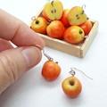 Miniature apple dangle earrings, cute gift for her