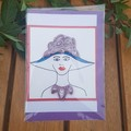 Greeting card, blank. Quilling lady with red necklace