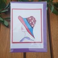 Greeting card, blank. Quilling lady with red and blue hat