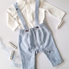 Hand-Embroidered Bumble Bee CottonLinen Romper Polo Shirt Bodysuit Set Baby Gift