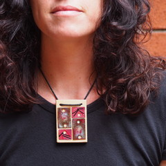 Pink Resistence- copper enamel pendant on wood