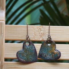 Aqua-Speckled Hearts - copper enamel drop earrings