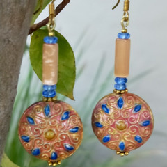 Vintage Chinese metal cloisonne earrings - Moroccan style.