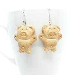Tiny Teddy Cookies Earrings, Aussie cute earrings