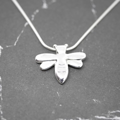 Honeybee - Handmade Solid Sterling Silver Bee Pendant with Snake Chain