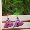 Red Hearts - copper enamel drop earrings