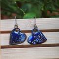 Kaleidoscopes - copper enamel drop earrings