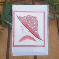 Greeting card, blank. Quilling lady with red hat and dress