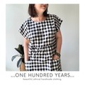 Black and white gingham check smock dress with patch pockets