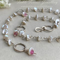 Silver Wrapped Anklet with Keshi Pearls and Pink Tourmaline