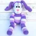 'Betsy' the Sock Bunny - purple & white stripes - EASTER - *READY TO POST*