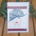 Greeting card, blank. Quilling lady with blue hat