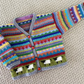 Grey  sheep Cardigan  -  Size 6-12 months - Hand knitted