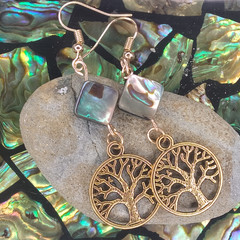 Sea Shell and Golden Tree of Life Earrings - Designed by Samantha Worthington